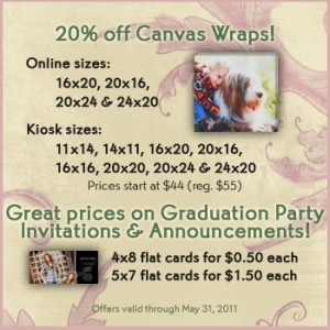 20% off canvas wraps & great prices on Graduation Party Invites and Announcements